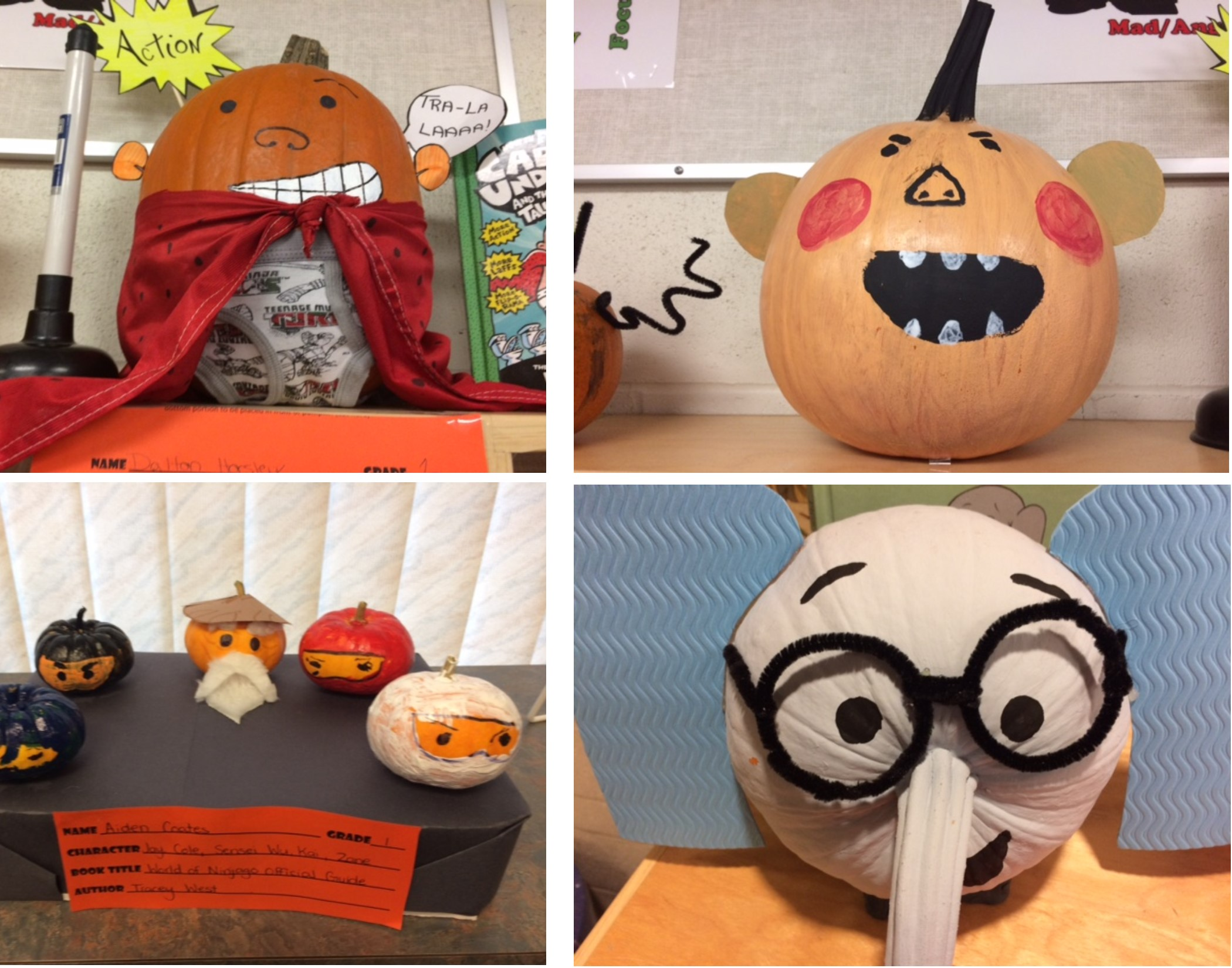 Pumpkins Decorated as Characters from Books!